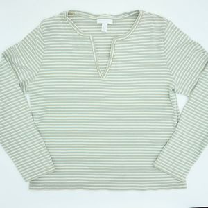 Charter Club Striped V Neck Blouse Long Sleeve